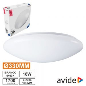 Aplique LED Redondo Teto 18W 330mm 6400K 1700lm AVIDE - (ACLO33CW-18W)