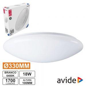 Aplique LED Redondo Teto 18W 330mm 6400K 1700lm AVIDE - (ACLO33CW-18W-AL)