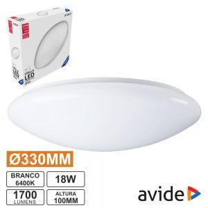 Aplique LED Redondo Teto 18W 330mm 6400K 1700lm AVIDE - (ACLO33CW-18W-HL-ST)