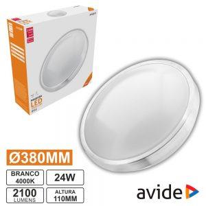 Aplique LED Redondo Teto 24W 380mm 4000K 2100lm AVIDE - (ACLO38NW-24W-ALU)