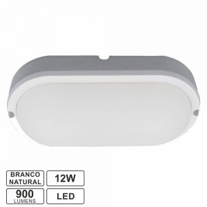 Painel LED Oval Aplique 12W 180mm 900lm Branco Natural - (APLOV1218NW)