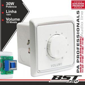 Regulador De Som 30W 100v Interior Parede Branco BSTPRO - (AR30)