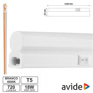Armadura LED 18W 120cm IP20 4000K 1440lm AVIDE - (AB1200T5-18W-NW)