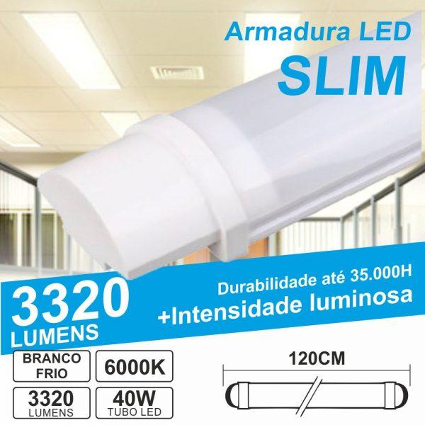 Armadura LED Batten Slim 40W 1.2m IP65 6000K 3320lm - (ALS120CW65(E))