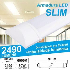 Armadura LED Slim 30W 0.90m IP20 6000k 2490lm - (ALS090CW(W))