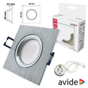 Aro Quadrado Fixo Alumínio P/ MR16-GU10 AVIDE - (ABGU10F-ALU-S)