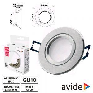 Aro Redondo Fixo Alumínio P/ MR16-GU10 AVIDE - (ABGU10F-ALU-R)