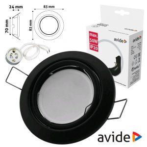 Aro Redondo Ajustável Cónico Preto P/ MR16-GU10 AVIDE - (ABGU10F-CS-B)