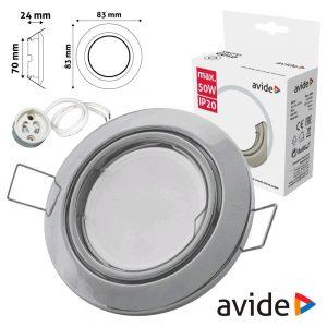 Aro Redondo Ajustável Cónico Cromado P/ MR16-GU10 AVIDE - (ABGU10F-CS-CH)