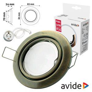 Aro Redondo Ajustável Cónico Cobre P/ MR16-GU10 AVIDE - (ABGU10F-CS-CO)