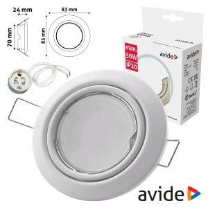 Aro Redondo Ajustável Cónico Branco P/ MR16-GU10 AVIDE - (ABGU10F-CS-W)
