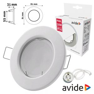 Aro Redondo Fixo Branco P/ MR16-GU10 AVIDE - (ABGU10F-N-W)