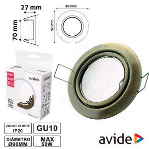 Aro Redondo Ajustável Cobre P/ MR16-GU10 AVIDE - (ABGU10F-NS-CO)