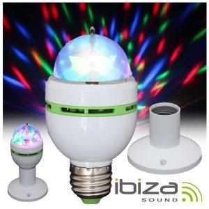 Lâmpada Rotativa 3 LEDS 1W RGB E27 E Suporte IBIZA - (ASTRO-MICRO-S)