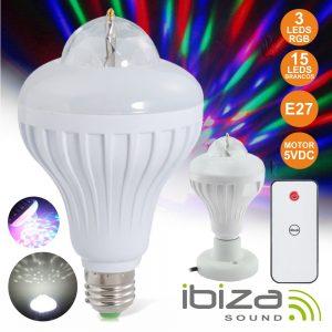 Lâmpada Rotativa 3 LEDS 1W RGB E27 E 15 LEDS Brancos IBIZA - (ASTROLED-MINI)