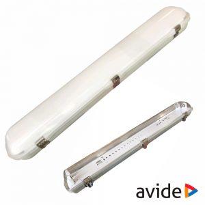 Armadura Estanque 1.2m p/ 2 Lâmpadas LED Tubular T8 AVIDE - (ATPF-2X36W)