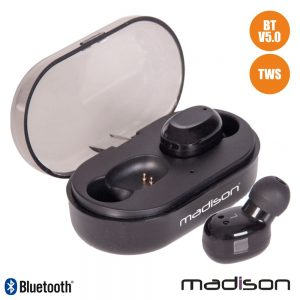 Auriculares Bluetooth V5.0 C/ Dock Carregamento TWs Madison - (ETWS150-BK)