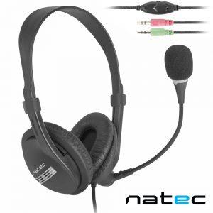 Auriculares C/ Fios E Microfone Preto NATEC - (NSL-0294)