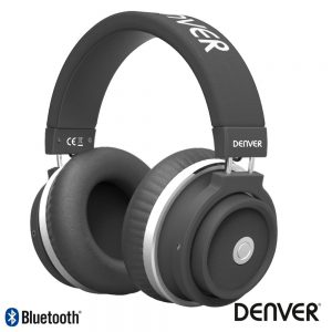 Auscultadores Bluetooth S/ Fios Aux Preto Mic DENVER - (BTH-250BLACK)