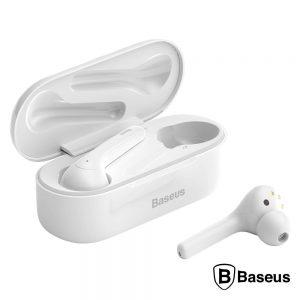 Auscultadores Bluetooth V5.0 TWS Brancos BASEUS - (NGW07-02)