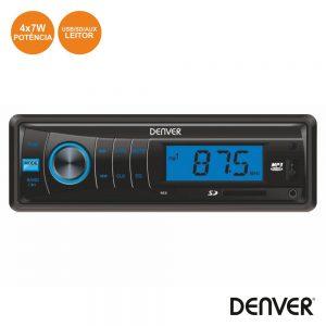Auto-Rádio Mp3 Wma 7Wx4 C/ FM/Mmc/SD/USB Aux DENVER - (CAU-444)