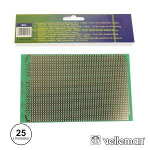 Placa Circuito Impresso Perfurada Em Linhas 100x160mm (25x) - (B/ECL)