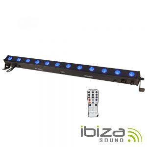 Barra De LEDS C/ Strobe 12 LEDS RGBW 8W DMX Comando IBIZA - (LEDBAR12-RC)