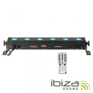 Barra De LEDS C/ Strobe 6 LEDS RGBW 8W DMX Comando IBIZA - (LEDBAR6-RC)