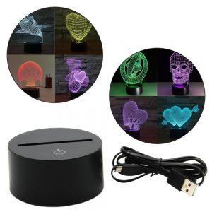 Base LED C/ Efeito 3D 7 Cores - (INVGA278)