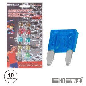 Conjunto De 10 Mini-Fusíveis P/ Automóvel 7.5-30a - (BL/AFUM)