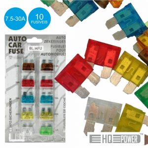 Conjunto De 10 Fusíveis P/ Automóvel 7.5-30a - (BL/AFU)