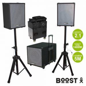 Conjunto Som Bi-Amplificado USB/SD/Comando 1400W Boost - (BOOST1208)