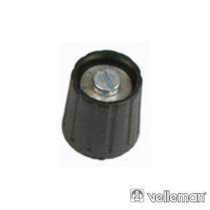 Botão p/ Potenciómetro Preto 15mm/6mm VELLEMAN - (KN156NS)