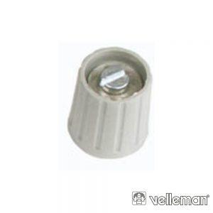 Botão p/ Potenciómetro Cinza 15mm/6.35mm VELLEMAN - (KN157G)