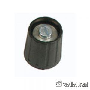 Botão p/ Potenciómetro Preto 15mm/6.35mm VELLEMAN - (KN157N)