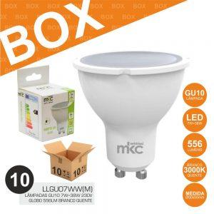 Box 10 Lâmpadas GU10 7W=38W 230V LED 3000K 556lm - (BOXGU07WW)
