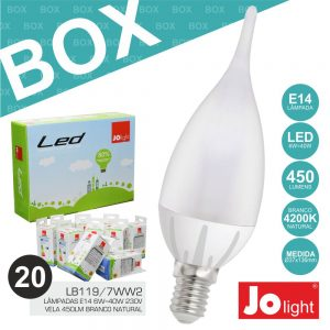 Box 20 Lâmpadas E14 6W=40W 230V Vela Branco Natural Jolight - (BOXLB119/7NW)