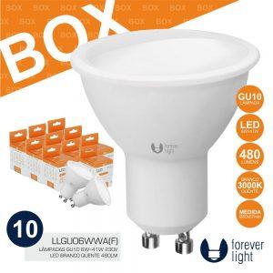 Box 10 Lâmpadas GU10 6W 230V LEDS 3000K 480lm - (BOXLLGU06WWA(F))