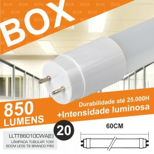 Box 20 Lâmpadas Tubular 10W 60cm LEDS T8 Branco Frio 850lm - (BOXT8060(E))