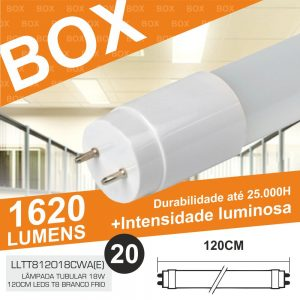 Box 20 Lâmpadas Tubular 18W 120cm LED T8 Branco Frio 1620lm - (BOXT8120(E))