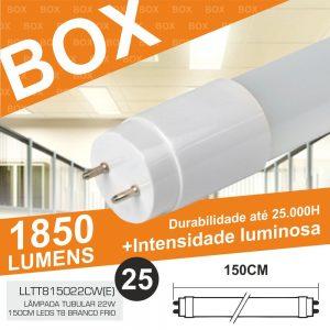 Box 25 Lâmpadas Tubular 22W 150cm LEDS T8 Branco Frio 1850lm - (BOXT8150(E))