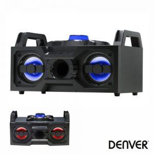 "Sistema Som Portátil 2x4"" USB/BT/FM/Rec LEDS DENVER - (BTB-60)"
