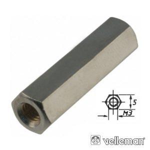 Separador Circuito Impr Hexagonal Metal 10mm M3 Fêmea/Fêmea - (BUS3FF10)