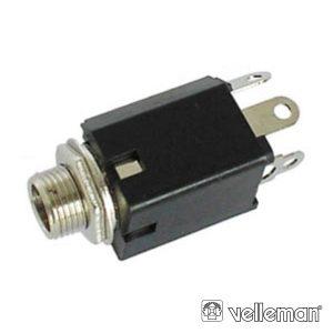 Ficha Jack 6.35mm Fêmea Mn P/ Chassis C/ Interruptor - (CA043)