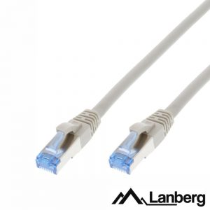 Cabo S/FTP LSZH CAT6A 0.5m Cinza LANBERG - (PCF6A-10CC-0050-S)