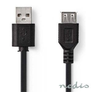 Cabo USB-A 2.0 Macho / USB-A Fêmea 2M NEDIS - (CCGT60010BK20)