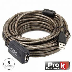 Cabo USB-A 2.0 Macho / USB-A Fêmea Amplificado 5m PROK - (CUSB205/5ACT)