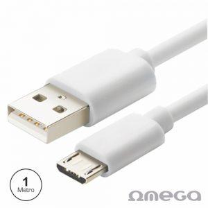 Cabo USB-A 2.0 Macho / Micro USB-B Macho 1M Branco OMEGA - (OUPVC3MW)
