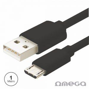 Cabo USB-A 2.0 Macho / Micro USB-B Macho 1M Preto OMEGA - (OUPVC3MB)
