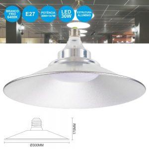 Campânula E27 LED 30W Branco Frio 2400lm - (CL2730CW(T))